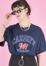 Load image into Gallery viewer, Vintage Reworked Crop Top in Navy with Cardiff Wales Print in M
