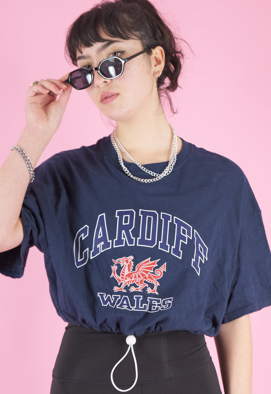 Vintage Reworked Crop Top in Navy with Cardiff Wales Print in M