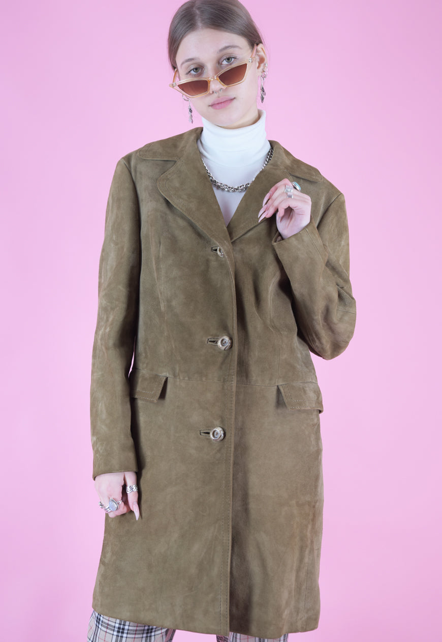 Vintage Leather Jacket Trench Coat in Brown with Buttons in M