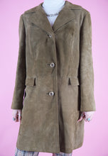 Load image into Gallery viewer, Vintage Leather Jacket Trench Coat in Brown with Buttons in M
