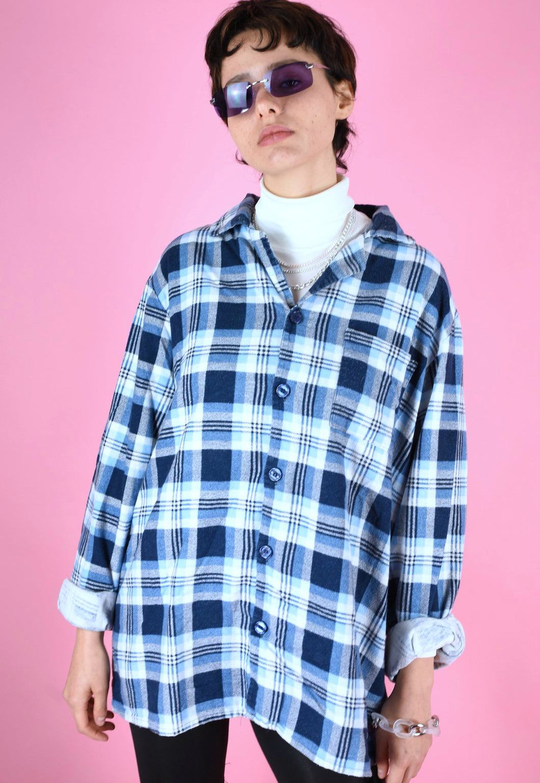 Vintage 90s Flannel Shirt in Blue with Check Pattern in M/L
