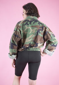 Vintage Reworked Crop Jacket Original US Army with Patches in M/L