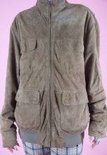 Load image into Gallery viewer, Vintage Leather Jacket Bomber in Faded Brown with Zipper in M/L