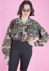 Vintage Reworked Crop Jacket Original US Army in Brown Camo in S
