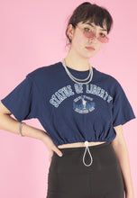 Load image into Gallery viewer, Vintage Reworked Crop Top in Navy with Statue of Liberty Print in S