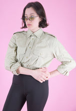 Load image into Gallery viewer, Vintage Reworked Crop Shirt in Beige with Shoulder Details in S/M