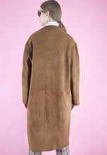 Load image into Gallery viewer, Vintage Leather Jacket Trench Coat in Brown Suede Long in L
