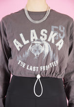 Load image into Gallery viewer, Vintage Reworked Crop Top  in Brown with Alaska Print in S