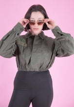 Load image into Gallery viewer, Vintage Reworked Crop Army Shirt in Green with Velcro Patches in S