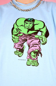 Vintage 2003 T-Shirt Hulk Light Blue With Marvel Graphic in M/L