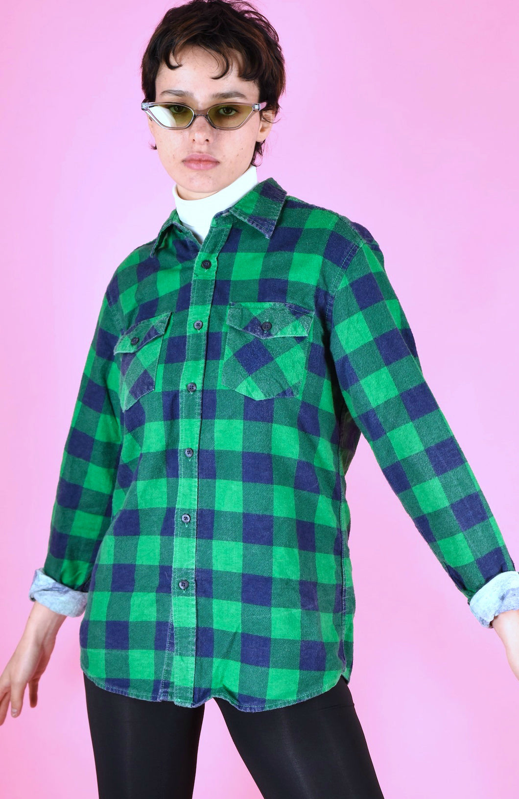 Vintage 90s Flannel Shirt Check Green Blue in M/L