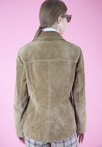 Vintage Leather Jacket in Beige Suede with Buttons in S/M