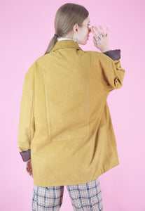 Vintage Leather Jacket Trench Coat in Yellow Camel in L