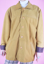 Load image into Gallery viewer, Vintage Leather Jacket Trench Coat in Yellow Camel in L