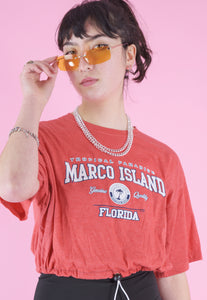 Vintage Reworked Crop Top in Red with Marco Island Print in S/M