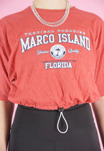 Load image into Gallery viewer, Vintage Reworked Crop Top in Red with Marco Island Print in S/M