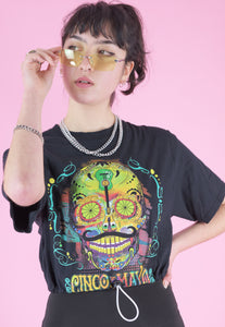 Vintage Reworked Crop Top in Black with Cinco de Mayo Print in S