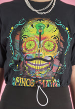 Load image into Gallery viewer, Vintage Reworked Crop Top in Black with Cinco de Mayo Print in S