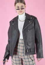 Load image into Gallery viewer, Vintage Leather Biker Jacket in Black with Silver Zippers in M/L