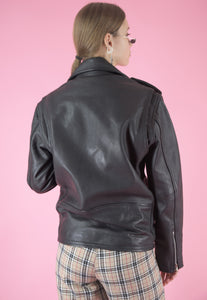 Vintage Leather Biker Jacket in Black with Silver Zippers in M/L