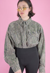 Vintage Reworked Army Jacket Cropped in Green Brown in S
