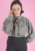 Load image into Gallery viewer, Vintage Reworked Army Jacket Cropped in Green Brown in S