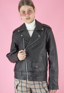 Vintage Leather Biker Jacket in Black with Silver Details in S/M