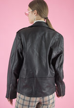 Load image into Gallery viewer, Vintage Leather Biker Jacket in Black with Silver Details in S/M