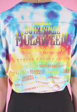 Load image into Gallery viewer, Vintage Reworked Crop Top in Tie Dye with Hulaween Print in S/M