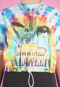 Vintage Reworked Crop Top in Tie Dye with Hulaween Print in S/M