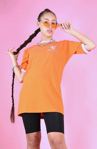 Vintage 90s T-Shirt Orange And Embroidery Purple White Cuff in S/M