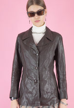 Load image into Gallery viewer, Vintage 70s Leather Jacket Trench Coat in Brown with Buttons in S