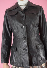 Load image into Gallery viewer, Vintage 70s Leather Jacket Trench Coat in Black with Buttons in XS/S