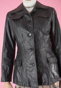 Vintage 70s Leather Jacket Trench Coat in Black with Buttons in XS/S
