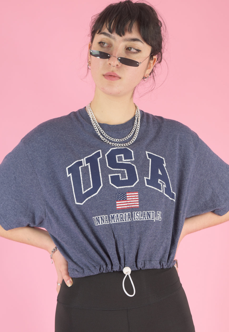 Vintage 90s Reworked Crop Top in Blue with USA Print in M