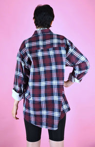 Vintage 90s Flannel Shirt Check Red Blue White Oversized in M/L