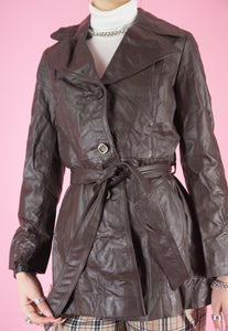 Vintage 70s Leather Jacket Trench Coat in Brown with Buttons in S