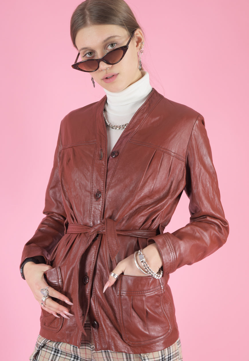 Vintage 70s Leather Jacket Trench Coat in Maroon with Buttons in XS