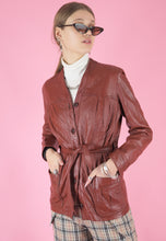 Load image into Gallery viewer, Vintage 70s Leather Jacket Trench Coat in Maroon with Buttons in XS