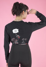 Load image into Gallery viewer, Vintage 90s Reworked Crop Top in Black with Turkey Print in XS/S