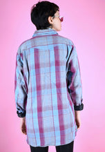 Load image into Gallery viewer, Vintage 90s Flannel Shirt Check Light Blue Burgundy Grey in L
