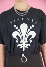 Load image into Gallery viewer, Vintage 90s Reworked Crop Top in Blue with Firenze Print in M