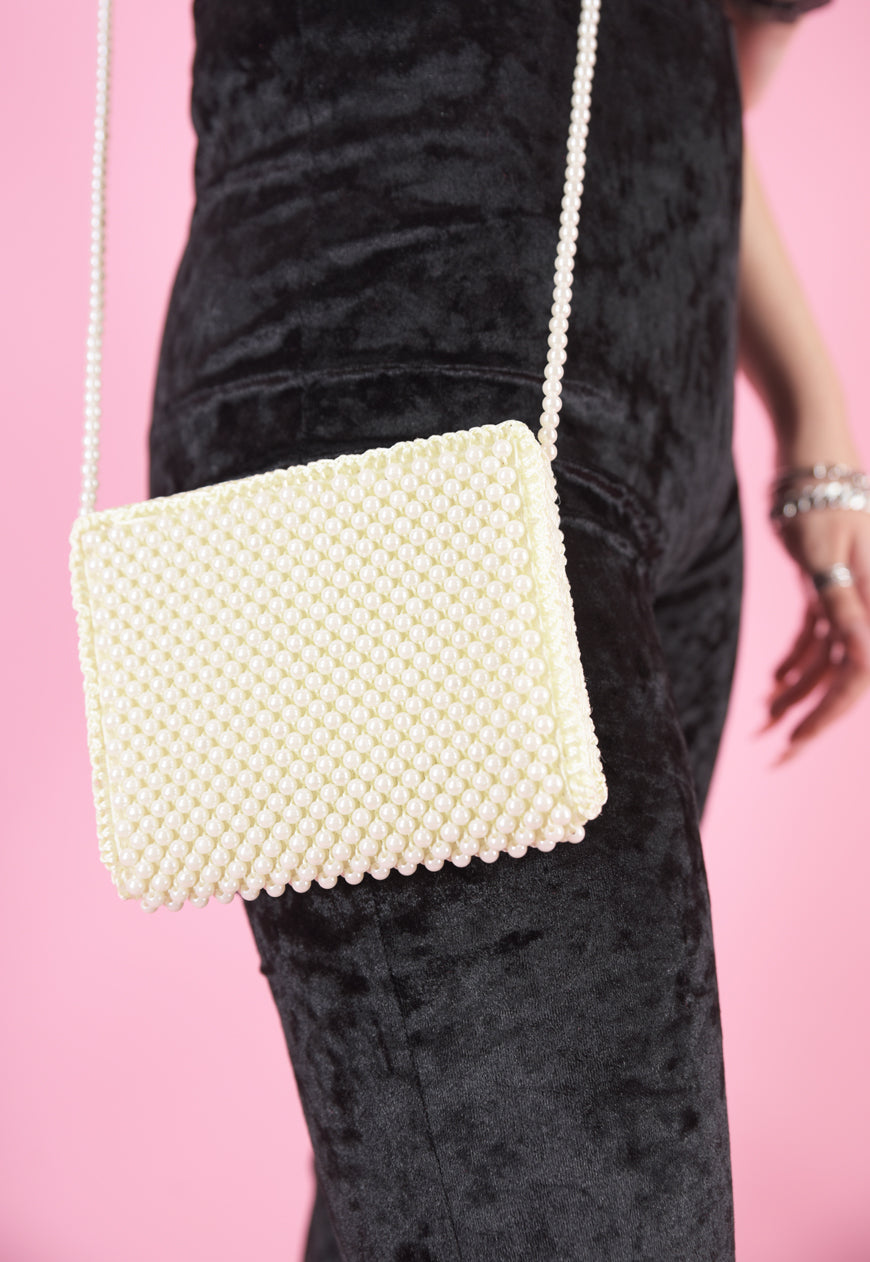Vintage Inspired Bag Cross Body with Pearls in Cream White