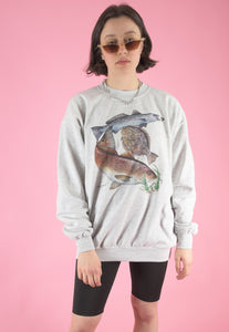 Vintage 90s Sweatshirt Jumper in Grey with Fish Print in M