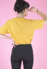 Load image into Gallery viewer, Vintage 90s Reworked Crop Top Yellow with '93 Fun Run Print in S