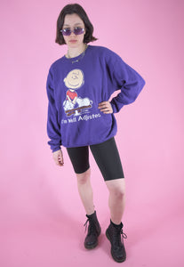 Vintage 90s Sweatshirt Jumper in Purple with Snoopy Print in L