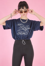 Load image into Gallery viewer, Vintage 90s Reworked Crop Top Blue with Student Council Print in S