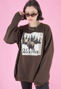 Vintage 90s Sweatshirt Jumper in Brown with Alaska Print in L