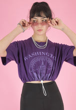 Load image into Gallery viewer, Vintage 90s Reworked Crop Top Purple with Washington Print in S/M