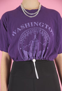 Vintage 90s Reworked Crop Top Purple with Washington Print in S/M